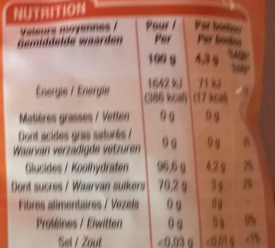 Bonbons au miel - Informations nutritionnelles - fr