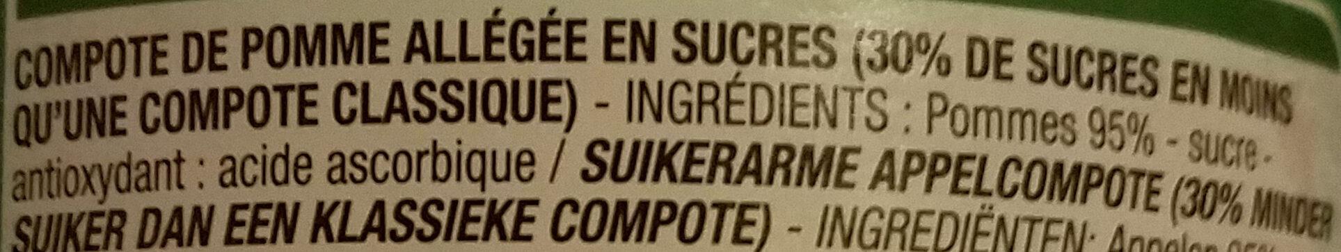 Compote Pomme Cora Allegee En Sucres - Ingrédients - fr