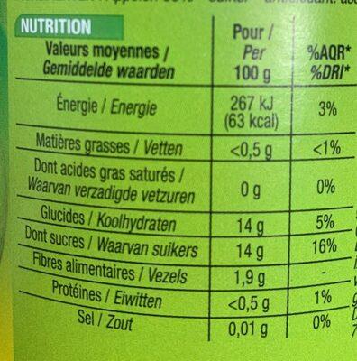 Compote Pomme Cora Allegee En Sucres - Informations nutritionnelles - fr