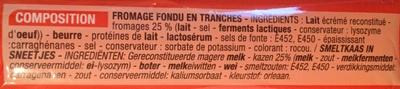 Fondu pour Burger (10 tranches) - (17 % MG) - Ingrediënten - fr