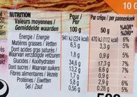 10 crêpes sucrées saveur vanille - Informations nutritionnelles - fr