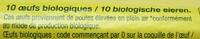 10 Œufs de Poules Élevées en Plein Ar Bio - Ingredients