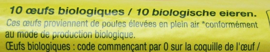 10 Œufs de Poules Élevées en Plein Ar Bio - Ingrédients - fr