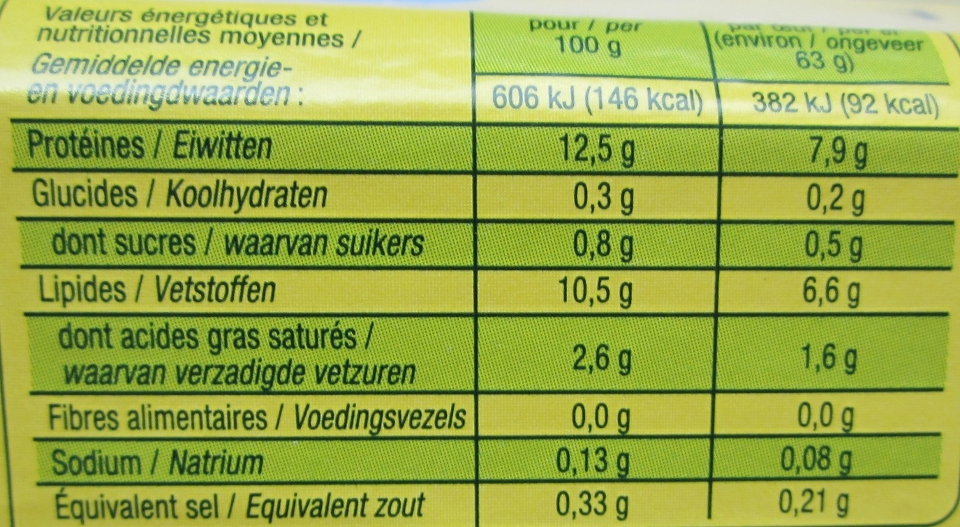 10 Œufs de Poules Élevées en Plein Ar Bio - Informations nutritionnelles - fr