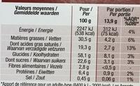 Tartelettes Chocolat Noir - Informations nutritionnelles - fr