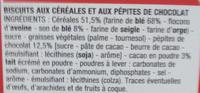 Biscuits pour le Petit déjeuner pépites de chocolat - Ingrédients - fr