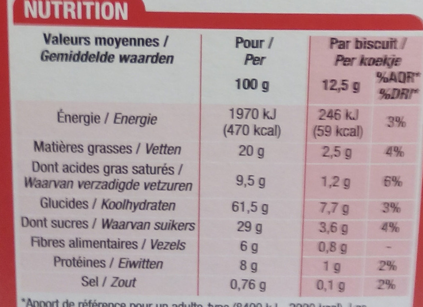 Biscuits pour le Petit déjeuner pépites de chocolat - Informations nutritionnelles - fr