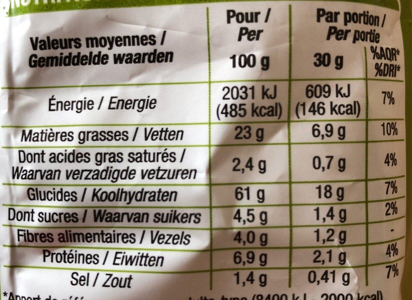 Soufflés Oignon - Informations nutritionnelles - fr