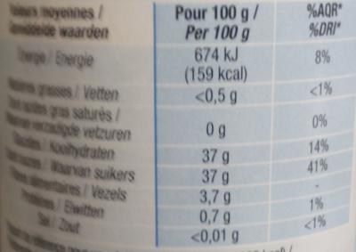 Confiture allégée Framboise - Informations nutritionnelles - fr
