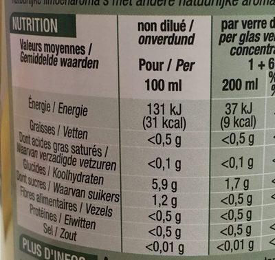 Concentré de Citron vert pour boisson et assaisonnement - Nutrition facts