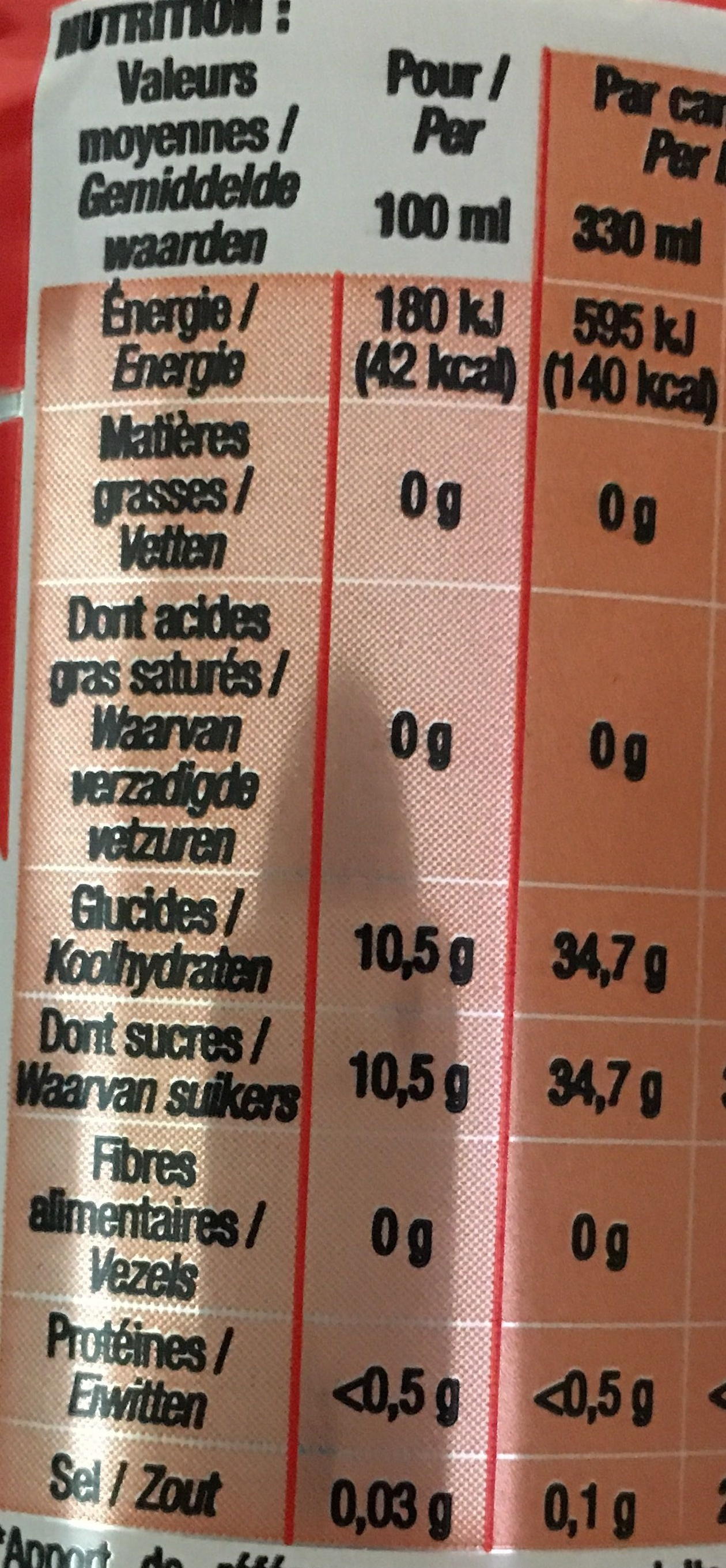 Cola - Nutrition facts - fr