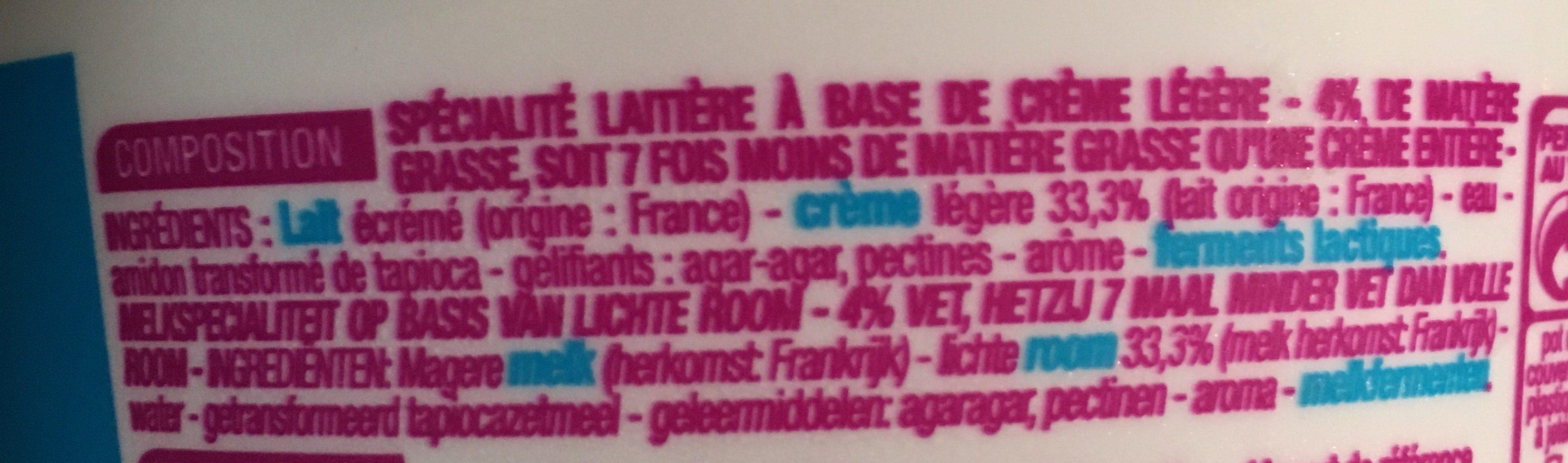 Crème Épaisse & légère - Ingrédients - fr
