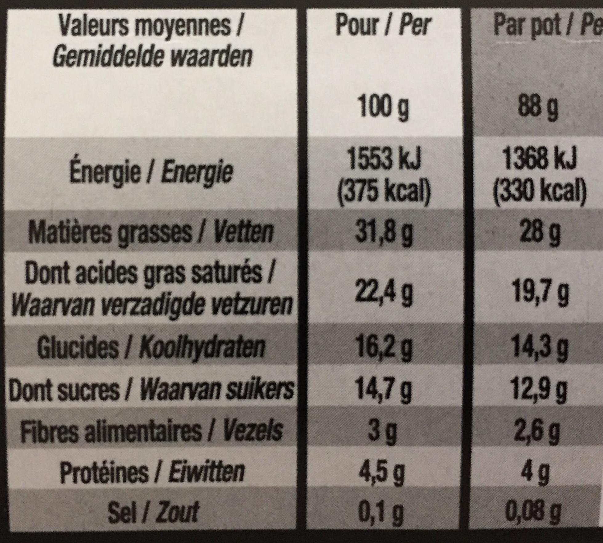 Mousse sur ganache chocolat - Nutrition facts - fr