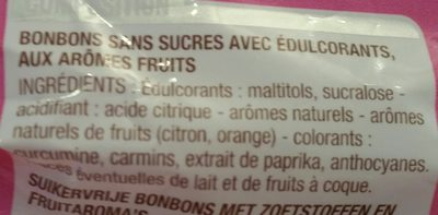 Mini-bonbons sans sucres parfum fruits - Ingrédients - fr