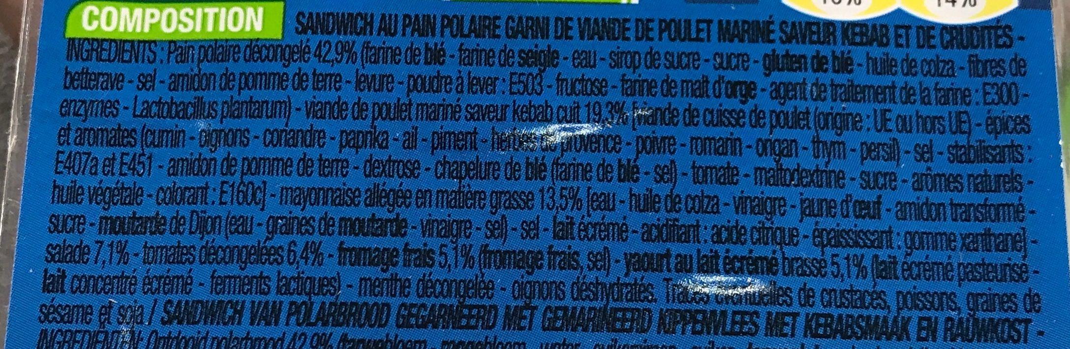 Kebab Crudités - Ingrediënten - fr