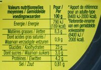 Taboulé oriental bio - Valori nutrizionali - fr
