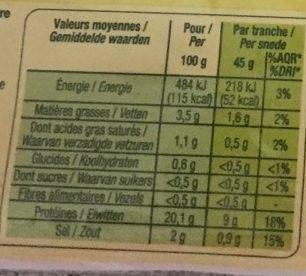 Jambon cuit superieur - Nutrition facts - fr