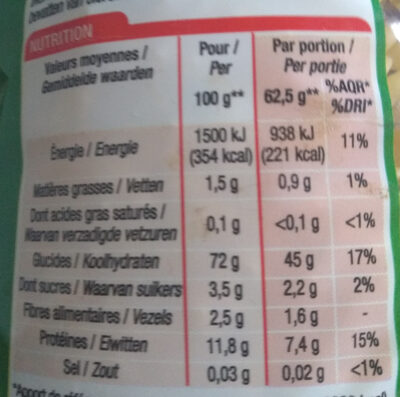 Torti (Cuisson rapide 3 min) - Nutrition facts