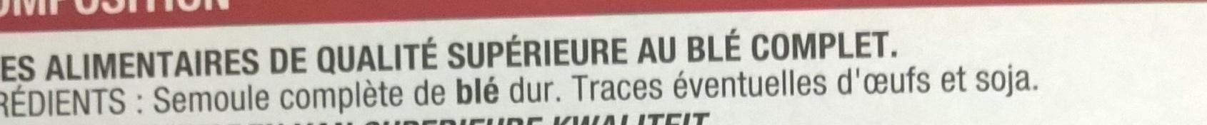 Coquillettes blé complet - Ingrédients - fr