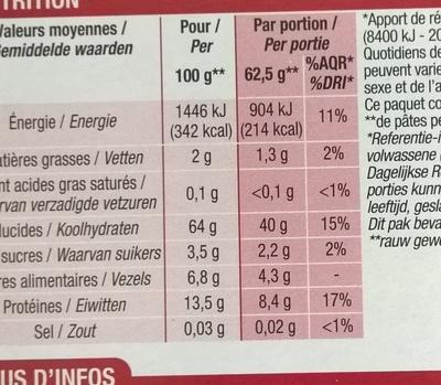 Coquillettes blé complet - Informations nutritionnelles - fr