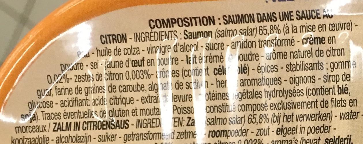 Saumon sauce citron - Ingredients