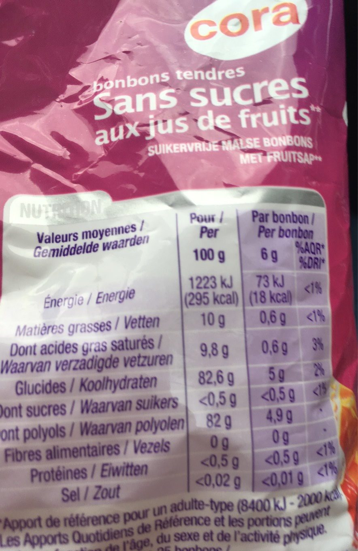 Bonbons tendres - Voedingswaarden