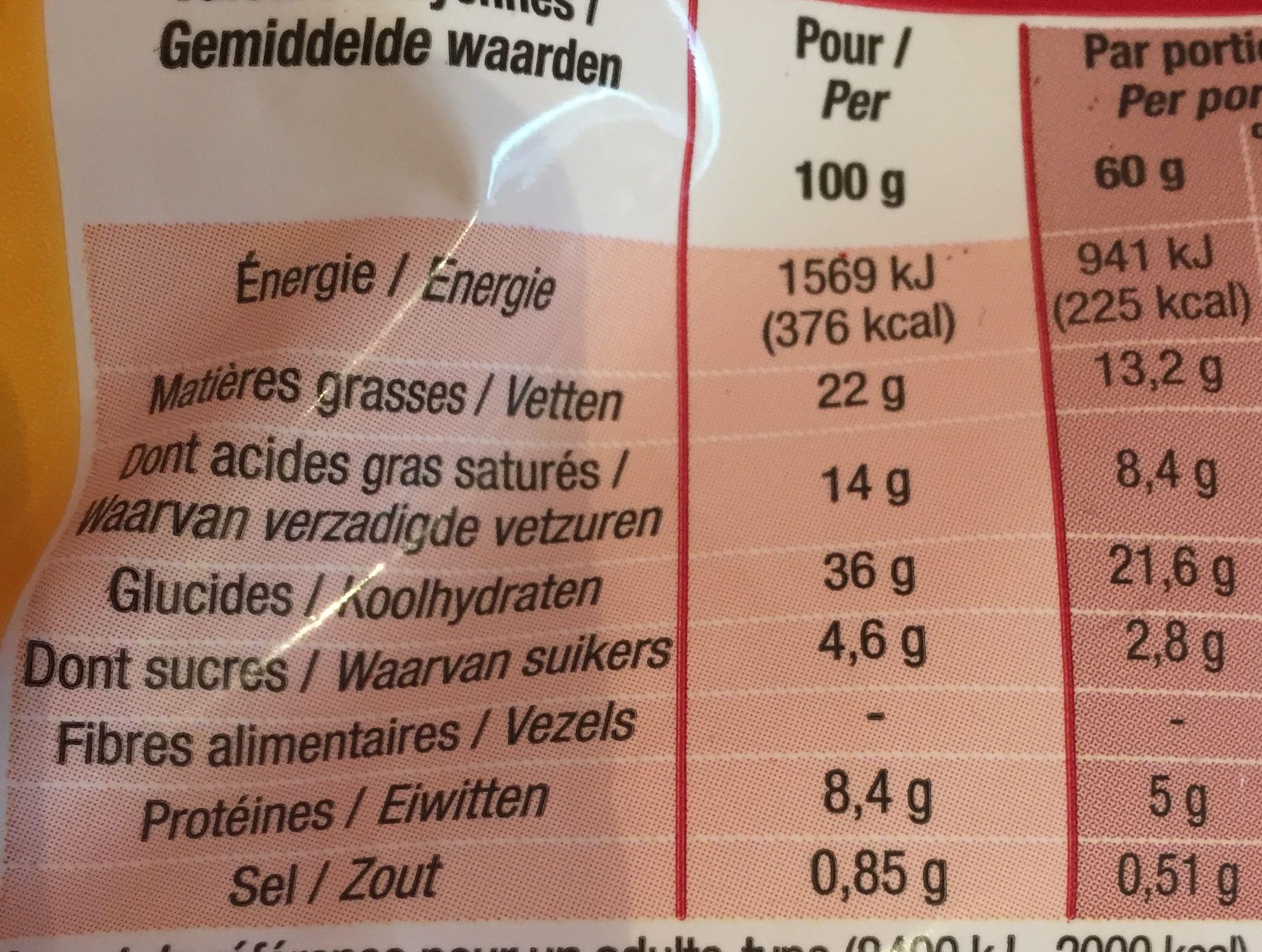Croissants pur beurre surgelé - Nutrition facts - fr