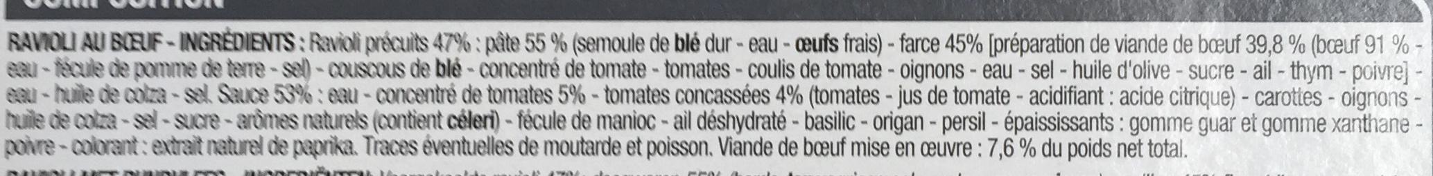 Ravioli pur bœuf - Ingrédients - fr