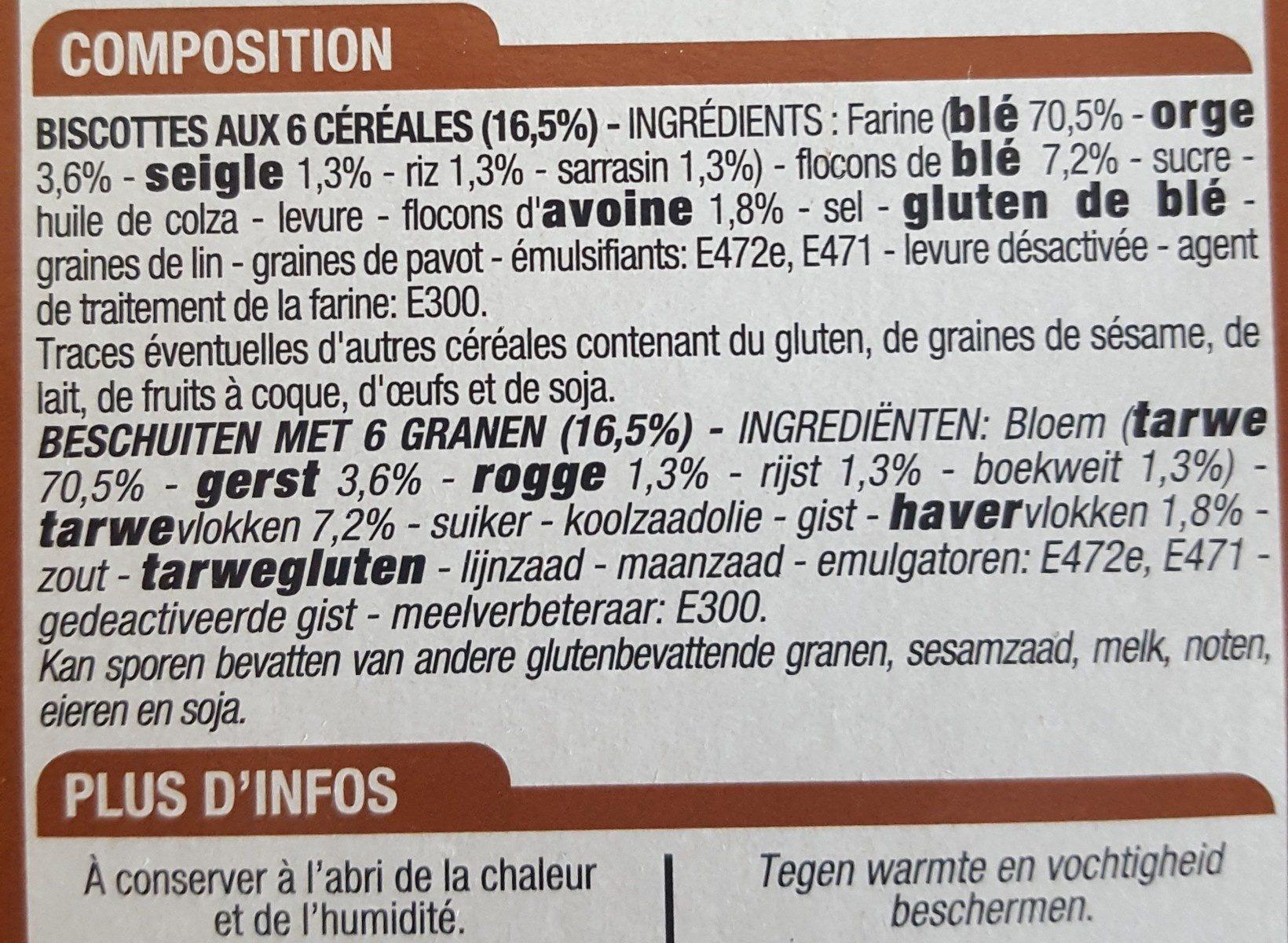 Biscottes 6 céréales - Ingrediënten