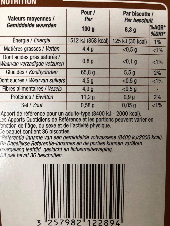 Biscottes 6 céréales - Voedingswaarden