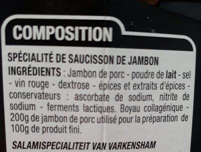 Saucisson Au Jambon - Ingrédients