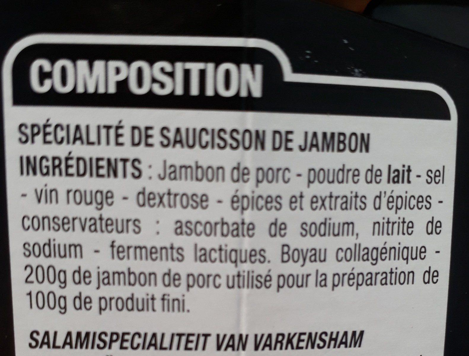 Saucisson Au Jambon - Ingrédients - fr