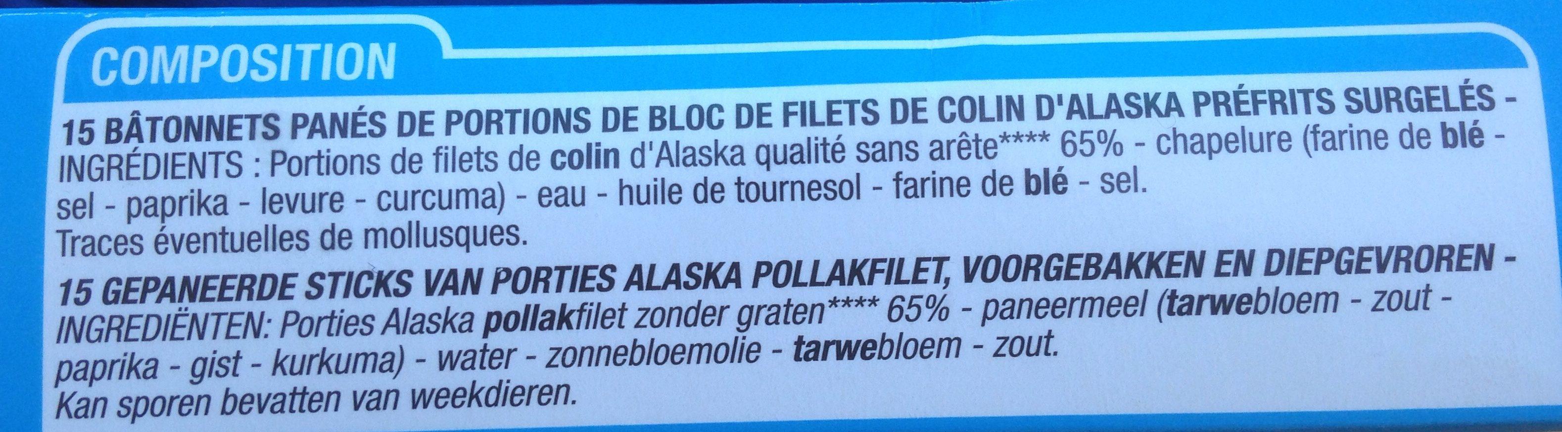 15 bâtonnets panés colin d'Alaska - Ingredienti - fr