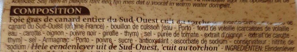 Foie gras de canard entier du Sud-Ouest cuit au torchon - Ingrediënten - fr