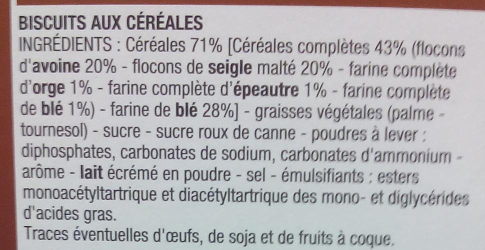 Biscuits Petit déjeuner céréales - Ingrédients