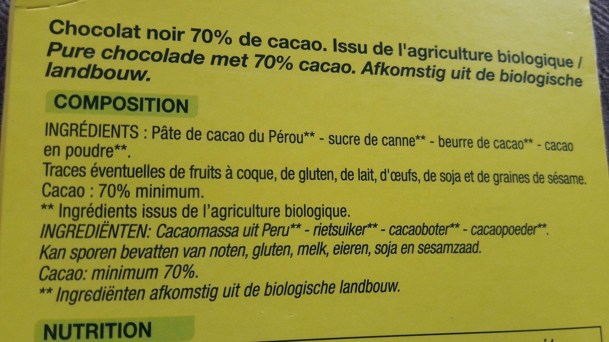 Noir dégustation Pérou - Ingrédients