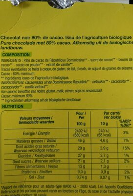 Noir Dégustation - Ingrediënten