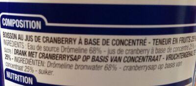 Jus de Cranberry - Ingrédients