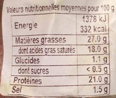 Saint-Nectaire AOP - Informations nutritionnelles - fr