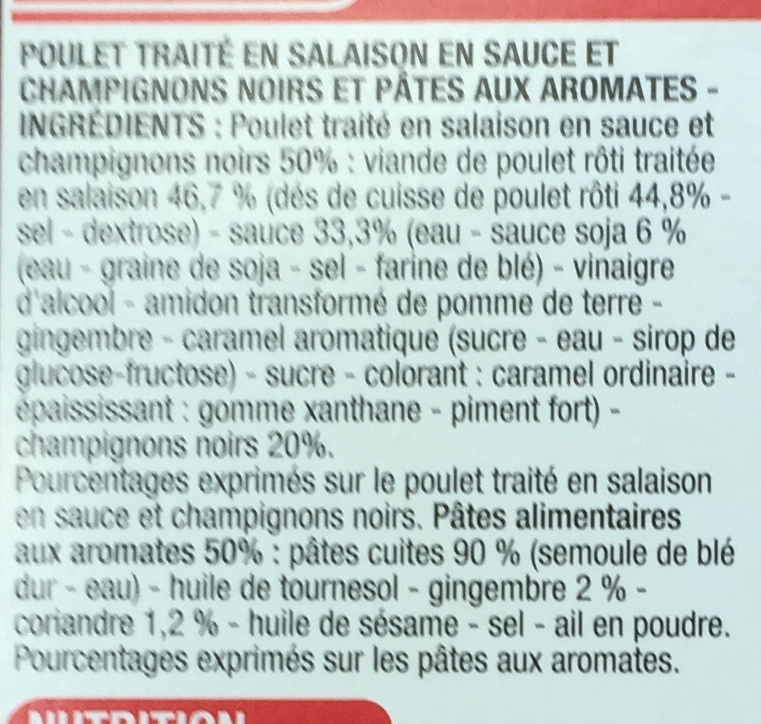 Nouilles à la chinoise Poulet Champignons noirs - Ingrédients - fr