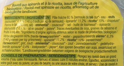 Ravioli Ricotta Epinards - Ingrediënten - fr