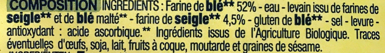 Demi-baguettes précuites de campagne - Ingrediënten - fr