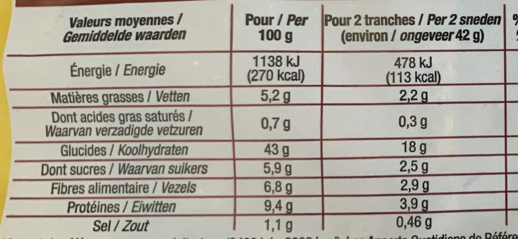 Pain de Mie Moelleux Complet - Informations nutritionnelles - fr