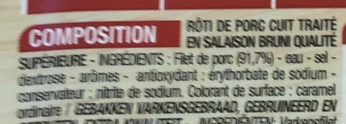 Rôti de porc cuit (2 tranches épaisses) - Ingrédients - fr