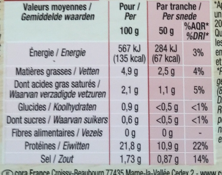 Rôti de porc cuit (2 tranches épaisses) - Informations nutritionnelles - fr