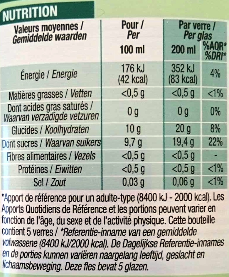100 % Pur Jus Pomme - Nutrition facts
