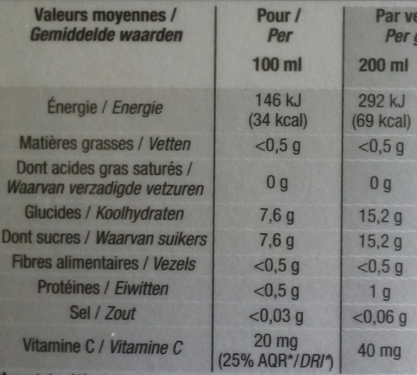 100% pur jus pamplemousse Floride - Nutrition facts - fr