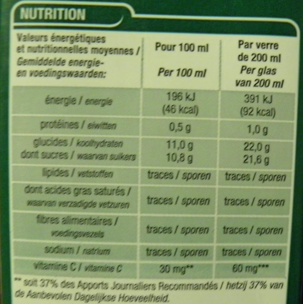 100 % pur jus 4 agrumes - Voedingswaarden - fr
