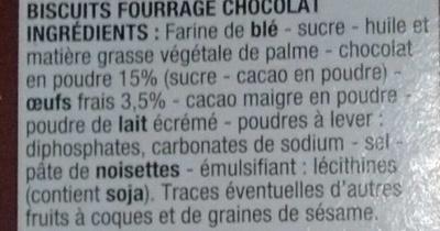 Biscuits fourrés chocolat - Ingrédients