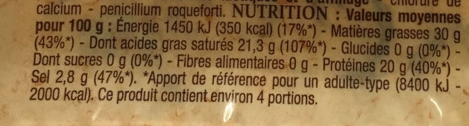 Bleu d'Auvergne - Nutrition facts